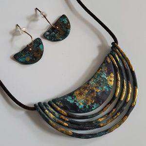 Necklace Earrings Patina Multi Half Round Moon